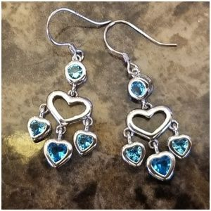 "Jewelry - Aquamarine Heart Dangle Hook Earrings 1.5"""